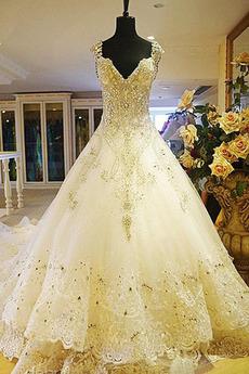Lange Bördeln Halle A Linie Trichter Formalen hoch gedeckt Brautkleid