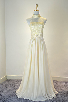 Ärmellos Natürliche Taille Bow Chiffon Schön Brautjungfer Kleid