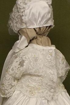 Natürliche Taille Fallen Spitze Appliques Blumenmädchen kleid