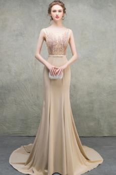 Natürliche Taille Satin Bördeln Tanzparty Meerjungfrau Abendkleid