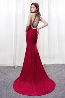 Meerjungfrau Partei Drapiert Reiner zurück Dünn Sexy Abendkleid