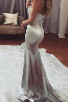 Meerjungfrau Fegen zug Natürliche Taille Elastischer Satin Abendkleid
