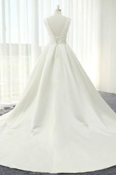 Drapiert Gefaltete Mieder Frühling Lange Tiefer V-Ausschnitt Brautkleid