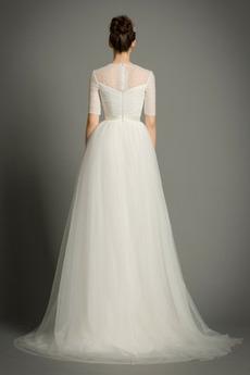 Gefaltete Mieder Natürliche Taille Halbe Ärmel Tüll Brautkleid