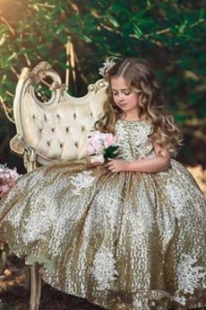 Formalen Knöchellänge Juwel Akzentuierter Bogen Blumenmädchen kleid