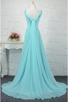 Hochzeit V-Ausschnitt Falten Ärmellos Schnüren Natürliche Taille Abendkleid