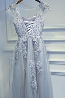 A Linie Schnüren Scoop Sommer Übergröße Luxuriös Brautjungfernkleid