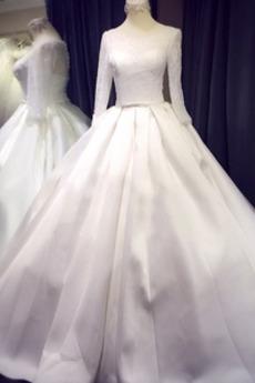Scoop A Linie Gerafft Halle Spitze Schnüren Kathedrale Zug Hochzeitskleid