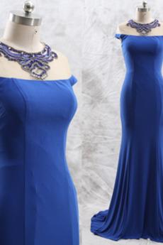 Mit geschlossenen Ärmeln Meerjungfrau Drapiert Tau Schulter Abendkleid