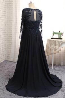 Natürliche Taille Bodenlänge Schlüsselloch Rücken Mutter der Braut Kleid