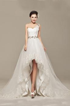 Spitze Ärmellos Dünn Schnüren Asymmetrisch Sommer Brautkleid
