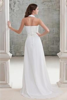 Gefaltete Mieder Draussen A Linie Drapiert Einfache Brautkleid