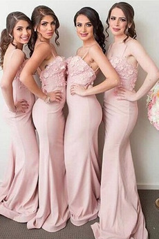 Reißverschluss Ärmellos Lange Meerjungfrau Brautjungfer Kleid