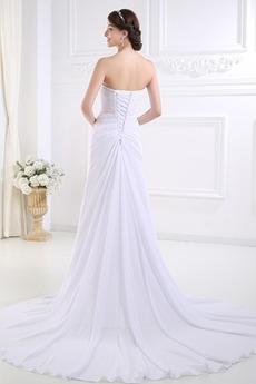 Natürliche Taille Birne Trägerlos A Linie Fegen zug Hochzeitskleid