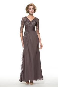 Trichter Spitzenbesatz A Linie Natürliche Taille Mutter der Braut Kleid