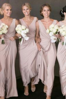 Winter Natürliche Taille Gefaltete Mieder Brautjungfernkleid