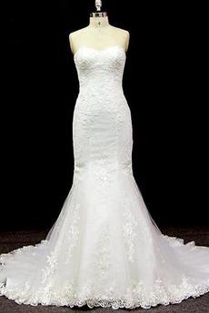Lange Ärmellos Halle Tüll Schnüren Schatz Klassische Brautkleid