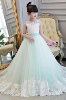 Formalen Trichter A Linie Ärmellos Fegen zug Kleine Mädchen Kleid