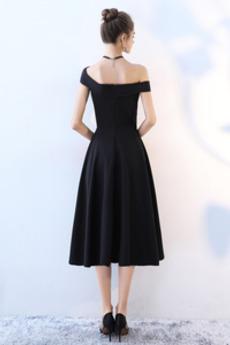 Trichter Drapiert Natürliche Taille Reißverschluss Abendkleid