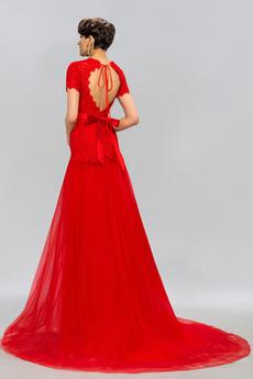 Juwel Rückenfrei Leistung Spitzenüberlagerung Tüll Abendkleid