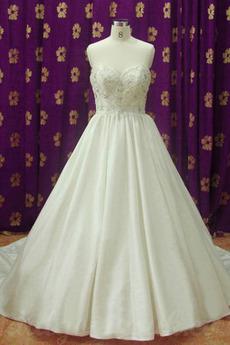 Lange Invertiertes Dreieck Reißverschluss Juwel akzentuiertes Mieder Brautkleid