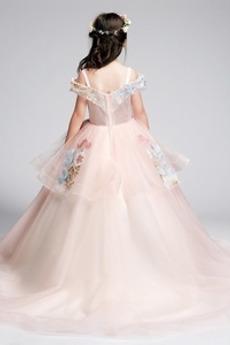 A Linie Formalen Spitzenüberlagerung Tüll Blumenmädchen kleid