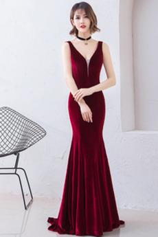 Reißverschluss V-Ausschnitt Einfach Tiefer V-Ausschnitt Abendkleid