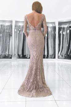 Meerjungfrau Spitzenüberlagerung V-Ausschnitt Taste Abendkleid