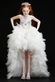 Tanzparty Kaskadierende Rüsche Asymmetrisch Kleine Mädchen Kleid