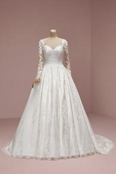 Winter umgekehrte Dreieck A Linie Formalen Illusionshülsen Hochzeitskleid