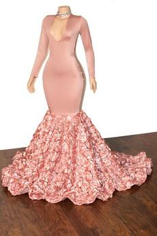 Meerjungfrau Drapiert Partei T Hemd Lange Ärmel Tiefer V-Ausschnitt Abendkleid
