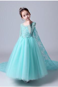 Natürliche Taille Illusionshülsen Trichter Kleine Mädchen Kleid