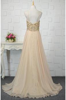 A Linie Natürliche Taille Ärmellos Bördeln Glänzendes Abendkleid