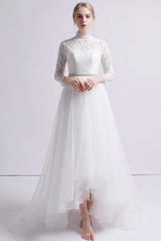 Asymmetrisch Birne Schöne Draussen Lange Ärmel Frühling Brautkleid