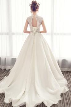 Schnüren Perlengürtel Natürliche Taille Fegen zug Spitze Brautkleid