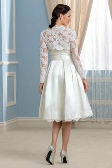 Natürliche Taille Draussen Rückenfrei Zwei Stück Satiniert Brautkleid