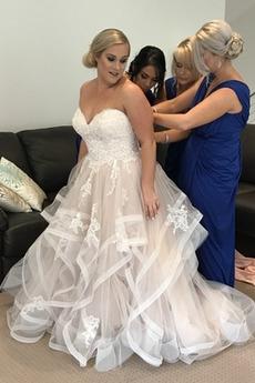 Formalen Schaukel Natürliche Taille Sanduhr Spitze Hochzeitskleid