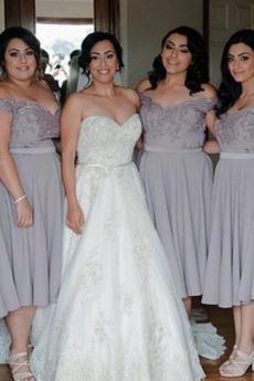 Sommer Natürliche Taille Spitzenüberlagerung Spitze Brautjungfer kleid
