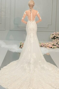 Draussen Natürliche Taille Breit flach Meerjungfrau Brautkleid