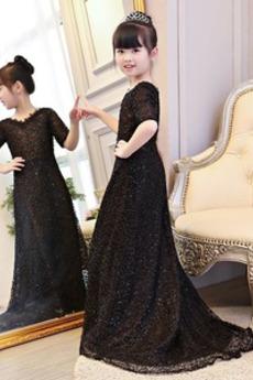 A Linie Spitzenbesatz Kurze Ärmel Urlaub Blumenmädchen kleid