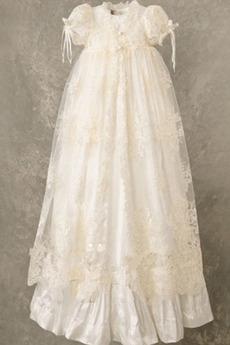 Juwel hoch gedeckt Lange Kurze Ärmel Prinzessin Blumenmädchen kleid
