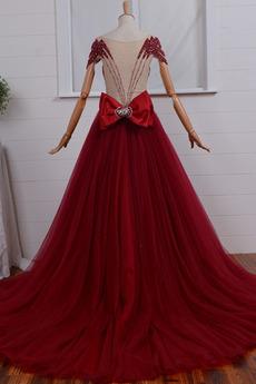 Fegen zug Trichter Kurze Ärmel V-Ausschnitt Tüll Reiner zurück Abendkleid