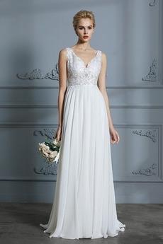 Lehnenlose Bodenlänge Chiffon Natürliche Taille Hochzeitskleid