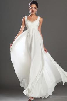 Drapiert Weiß Reich Knöchellänge Chiffon Göttin Brautkleid Weiße Abendkleid