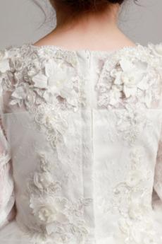 T Hemd Trichter Formalen A Linie Reißverschluss Blumenmädchen kleid