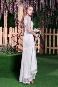 Sommer Elegante Tüll Tee Länge Meerjungfrau Spitze Brautkleid
