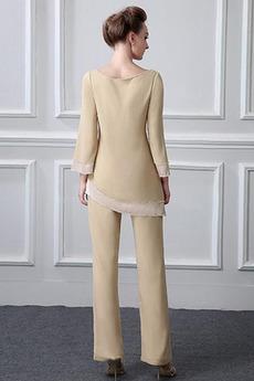 Einfach Natürliche Taille Breit flach Mutter kleid mit Ärmeln