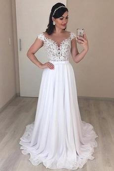 Ärmellos V-Ausschnitt Natürliche Taille Trichter Appliques Brautkleid