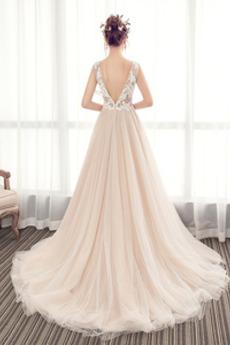 Spitze Ärmellos V-Ausschnitt Schöne Lange Spitzenüberlagerung Brautkleid