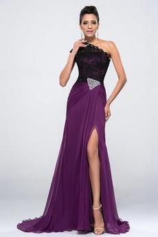 Eine Schulter Bankett Chiffon Asymmetrische Hülsen Sexy Abendkleid